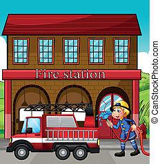 um, bombeiro, e, um, caminhão bombeiros, frente, a, posto de bombeiros