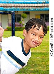 um, bonito, asiático, criança, de, tailandia, em, pátio recreio