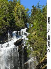 um, bonito, cachoeira, em, a, norte, de, itália