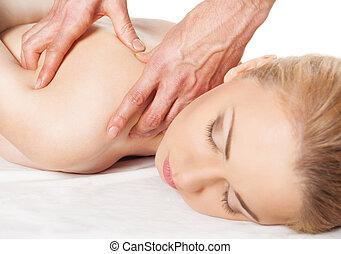 um, bonito, mulher, obtendo, um, ombro, e, massagem