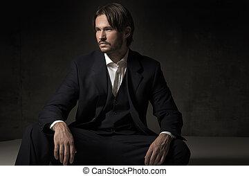 um, bonito, sentando, homem