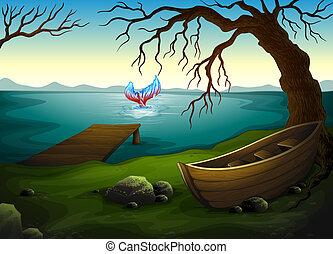 um, bote, sob, a, árvore, perto, a, mar, com, um, peixe grande