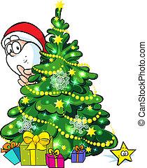 um, brilhar, árvore natal