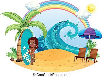 um, bronzeado, menina, praia, com, um, junta surfando