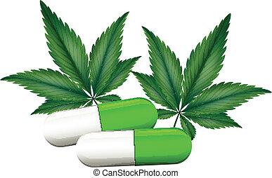 um, cápsula, de, marijuana