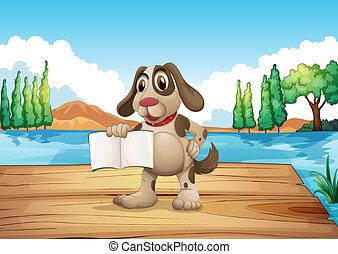 um, cão, segurando, um, vazio, livro, ficar, em, a, porto