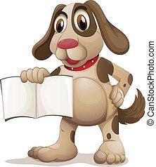 um, cão, segurando, um, vazio, livro