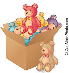 um, caixa, cheio, de, brinquedos