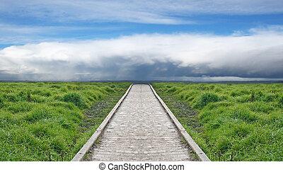 um, caminho madeira, através, verde, direção, a, céu