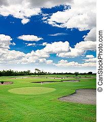 um, campo golfe, recurso