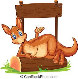 um, canguru, sob, a, vazio, madeira, signboard