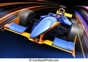um, car, fórmula, raça