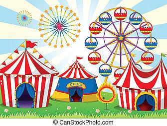 um, carnaval, com, listra, barracas