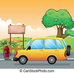 um, carro amarelo, e, um, vazio, signage