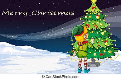 um, cartão, com, um, duende, enfrentando, a, árvore natal