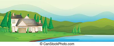 um, casa, perto, a, rio