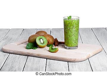 um, caseiro, coquetel, com, kiwi, hortelã, e, rangido, nozes, ligado, um, tabela madeira, isolado, ligado, um, branca, experiência., orgânica, fruits.