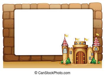 um, castelo, frente, um, vazio, signage