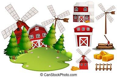 um, celeiro, casa, e, fazenda, elemento