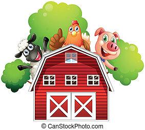 um, celeiro, com, animais, em, a, telhado