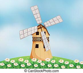 um, celeiro, com, um, moinho de vento