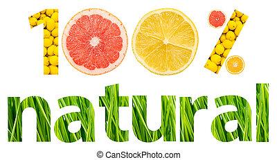 um, cento, cem, natural, frutas