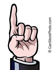 um, cima, dedo