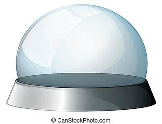 um, circular, cúpula, com, um, prata, suporte