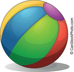 um, coloridos, esfera praia