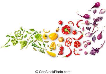 um, composição, de, legumes, alinhado, com, um, cor,...