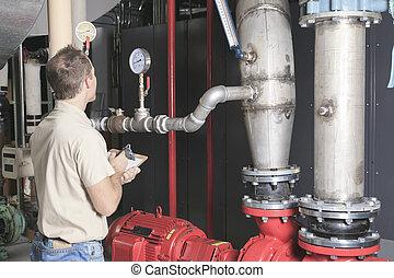um, condicionador ar, reparar homem, no trabalho