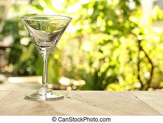 um, copo vazio, de, champanhe