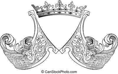 um, cor, coroa, heráldica, composição