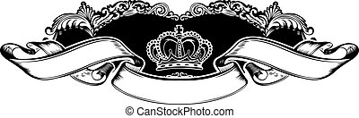 um, cor, coroa real, vindima, curvas, bandeira
