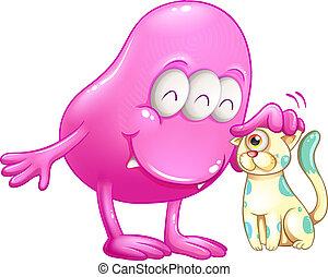 um, cor-de-rosa, beanie, monstro, com, um, gato