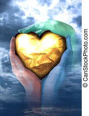 um, coração, de, ouro, em, mãos