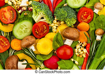 um, coração, feito, de, vegetables., comer saudável