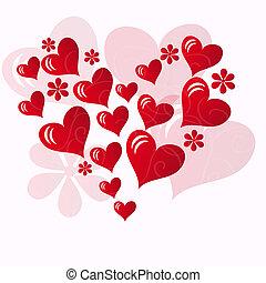 um, coração vermelho, forma