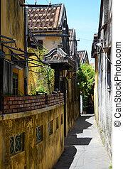 um, costas, rua, em, hoi um, alinhado, com, antigas, edifícios.