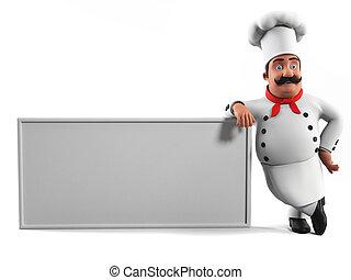 um, cozinha, cozinheiro