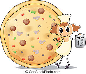 um, cozinheiro, frente, um, torta pizza