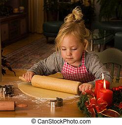 um, criança, em, natal, em, advento, quando, biscoitos...