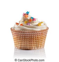 um, cupcake, isolado, branco