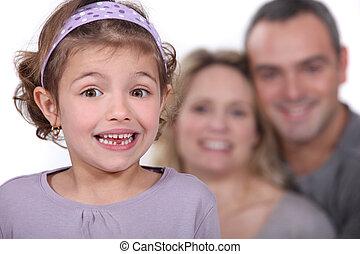 um, cute, menininha, com, dela, pais, em, a, experiência.