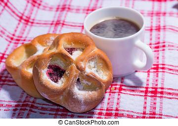 um, doce, torta, com, xícara café