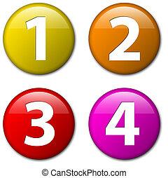 um, dois, três, quatro, -, vetorial, emblemas, com, números