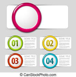 um, dois, três, quatro, -, vetorial, progresso, ícones
