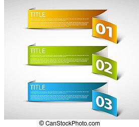 um, dois, três, -, vetorial, papel, opções