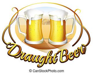 um, draught, cerveja, etiqueta, com, dois, assalta, de, cerveja