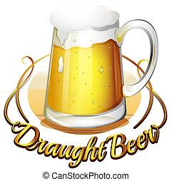 um, draught, cerveja, etiqueta